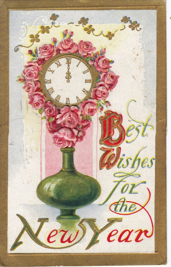 Vintage new year clock postcard