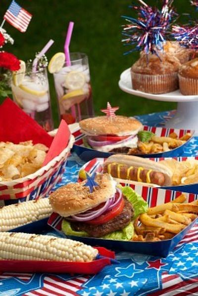 9833340-hot-dogs-corn-and-burgers-on-4th-of-july-picnic-in-patriotic-theme
